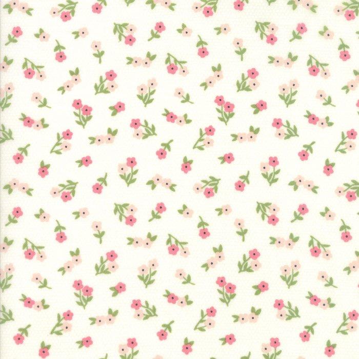 Sugar Pie Small Peach Flowers on Cream