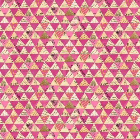 Wish Collaged Triangles w/Metallic Hot Pink