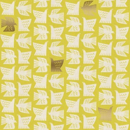 Kibori Paper Birds Citron Unbleached metallic