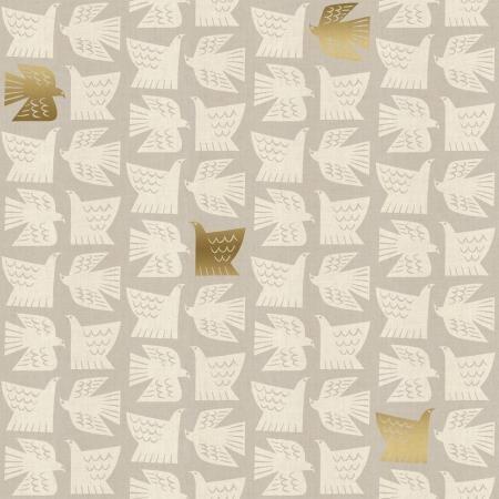 Kibori Paper Birds Gray Unbleached metallic