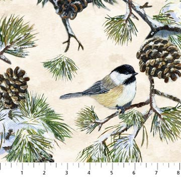 Winter Chickadee Birds & Pinecones