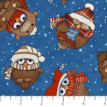 Cutie Hooties Flannel Owls on Blue