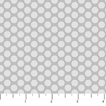 Hello Baby Dots on Gray Flannel