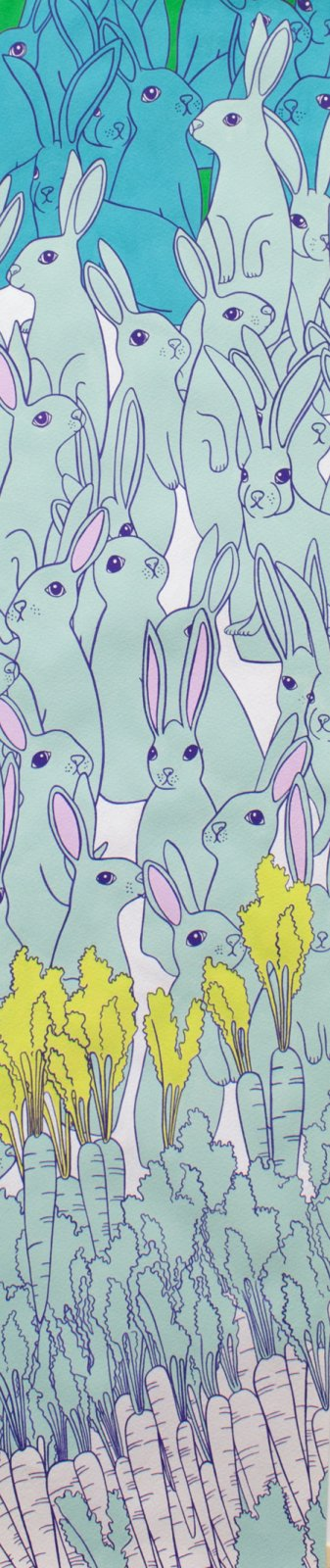 Hipster Hare Rabbits and Carrots in Aquas