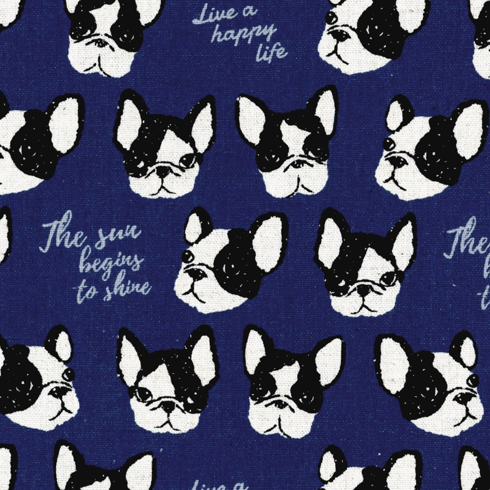 Boston Terriers on Blue Canvas