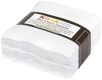 Mini Squares Kona Cotton White