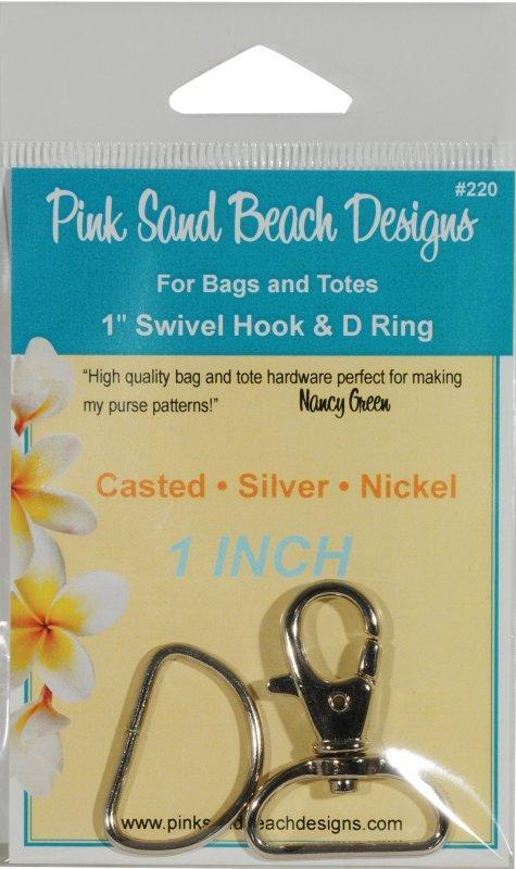 1 inch Swivel Hook & D Ring Silver