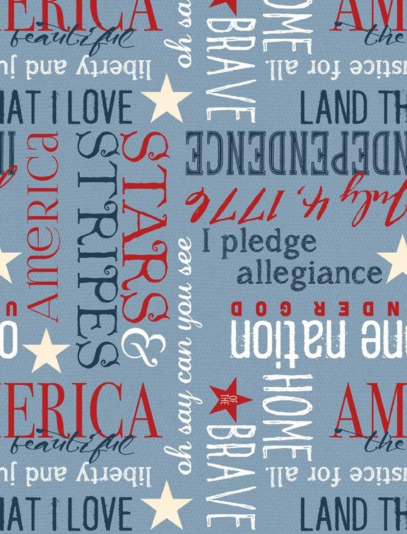 Heritage Patriotic Words on Blue