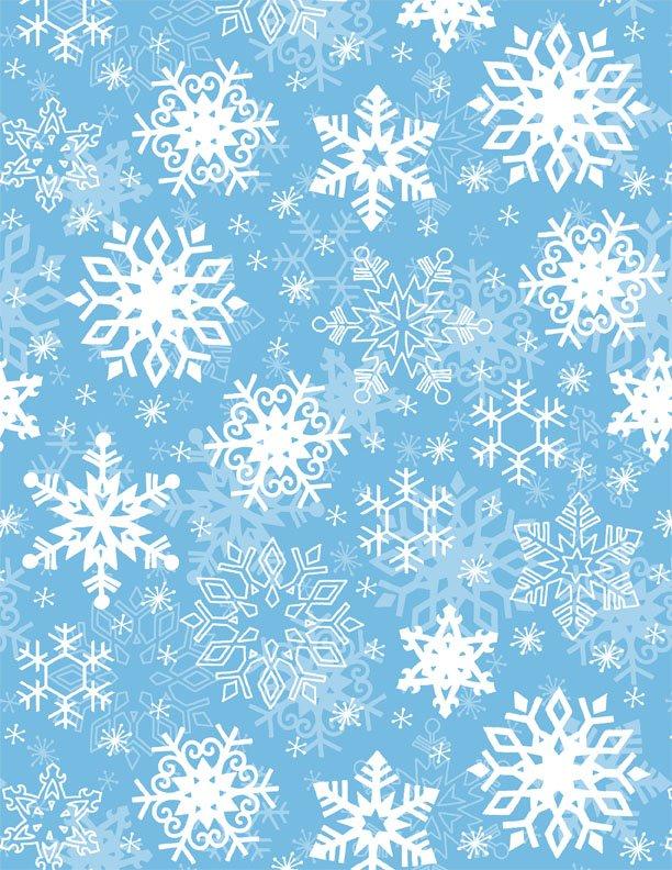 Snow Buddies Flannel Snowflakes on Blue
