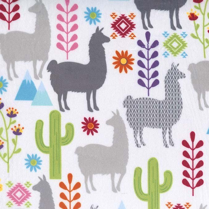 Llamas on White Minky