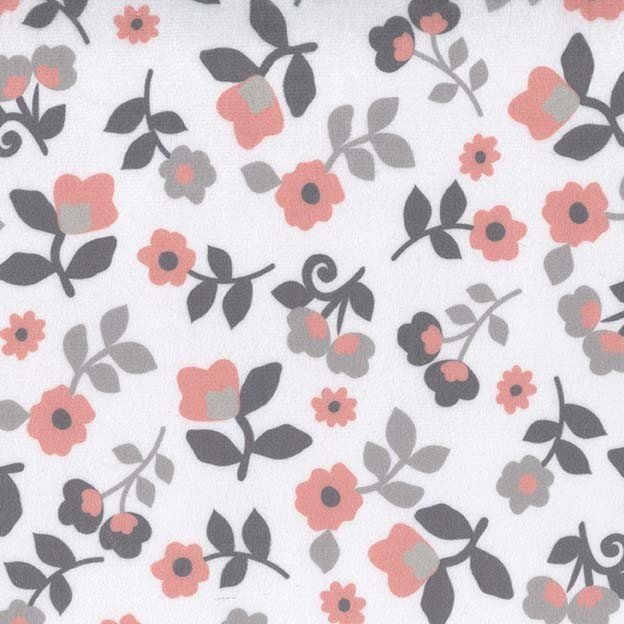 Michael Miller Minky Coral and Gray Floral