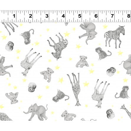 Baby Safari Animal Scatter on White