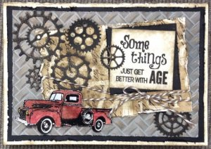 Birthday Card About Old Age With Gears and a Red Truck