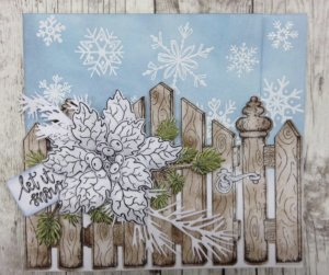 Winter Card With Snowflakes, a Wooden Fence. and a White Flower