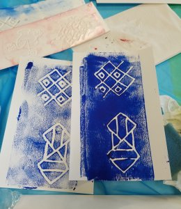 making stamps from Styrofoam