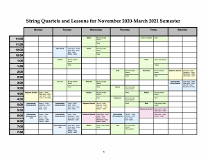 Lesson and Quartet Schedule