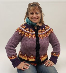 Maria Barr in her Candy Corn sweater
