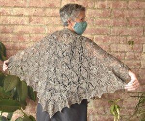 Agnes Duncan modeling her handspun/hand knit shawl