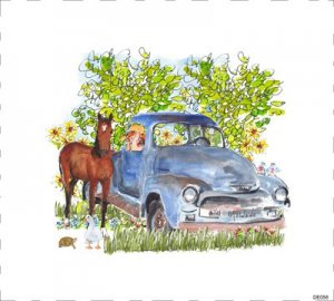 1954 chevy pickup watercolor painting