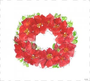 Poinsettia wreath watercolor painting