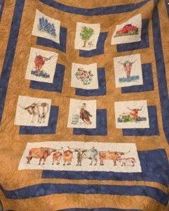 10 bluebonnet longhorns Texas watercolor paintings by Kathleen McElwaine