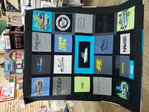 Ann Grigsby   She made a quilt out of her son's fishing shirts