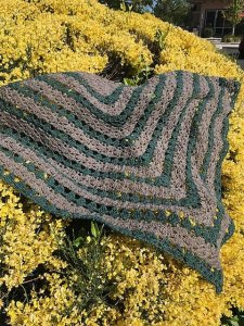 Meandering up Mountains crocheted shawl
