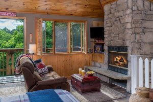 knotty hawg cottage room living area with fireplace