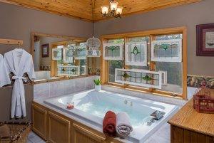 knotty hawg cottage room  tub