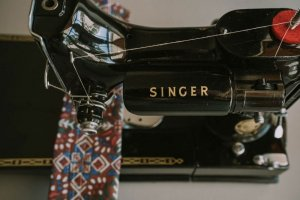 Singer Featherweight 221 painted black top