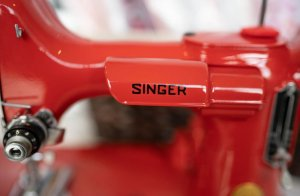 Singer Featherweight 221 painted red lamp holder