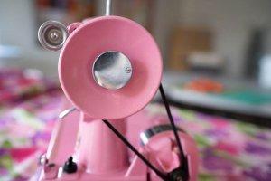 Singer Featherweight 221 painted Barbie pink handwheel