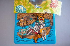 Custom painted Singer Featherweight 221 pirate day of the dead table