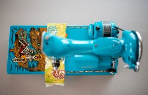 Custom painted Singer Featherweight 221 pirate day of the dead top