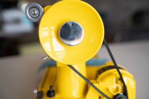 Singer Featherweight 221 painted yellow handwheel