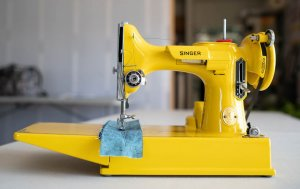 Singer Featherweight 221 painted yellow