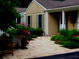 Flagstone path to house