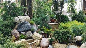 Rock garden with fairy house