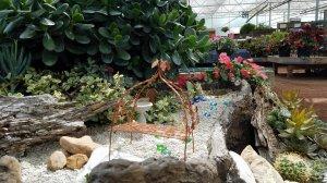 Pathway through fairy garden with arbor