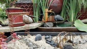 Fairy water garden with bridge