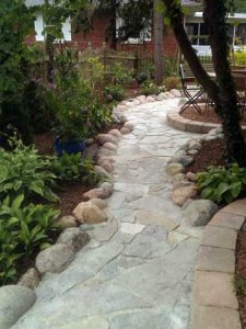 Brick and rock pathway