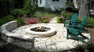 Flagstone and brick firepit