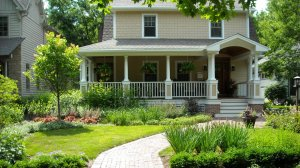 Front of house with new landscape