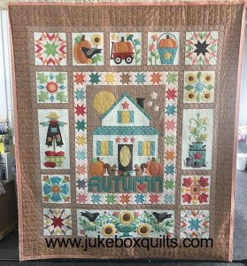 Pattern: Autumn Love designed by Lori Holt, kit from Fat Quarter Shop, Quilted by Kelly and Teri at Jukebox Quilts.