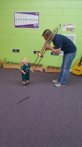 Demoing instruments for our Sprouts classes