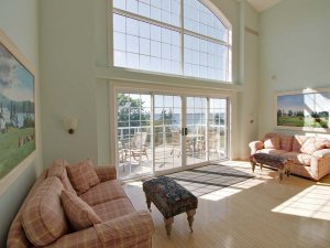 sofas and vaulted windows