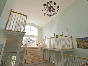wood-trimmed staircase
