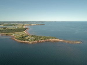 peninsula stretching into bay