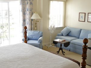 bed and blue sofas