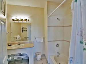 bathroom sink and shower